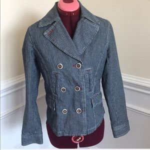 Boden Jean Jacket W/white Stripes Red Red Lining